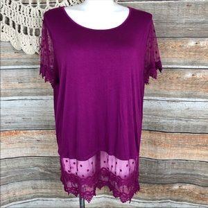 Kaktus Long Lace Tunic Top XXL 2x Purple